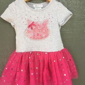 Sparkle kitty Cat Tutu Dress 4t pink & Gray